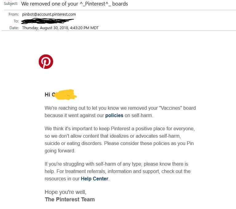 Pinterest censorship